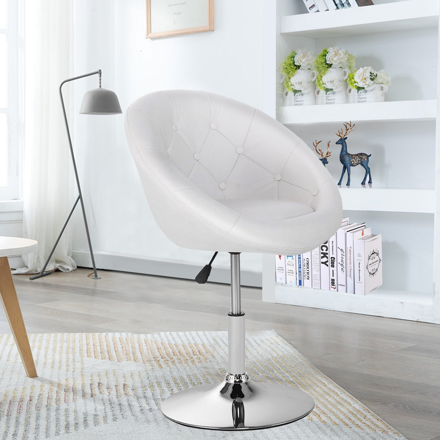 GentleShower Barstool, Round Tufted Back Swivel Chair, Chrome Adjustable Swivel Leather Bar Accent stool Chair with Hydraulic Lift (White)