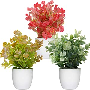 LELEE Artificial Potted Plants Mini Fake Plants, 3 Pack Small Eucalyptus Potted Faux Decorative Grass Plant with White Pot for Home Decor, Indoor, Office, Desk, Table Decoration