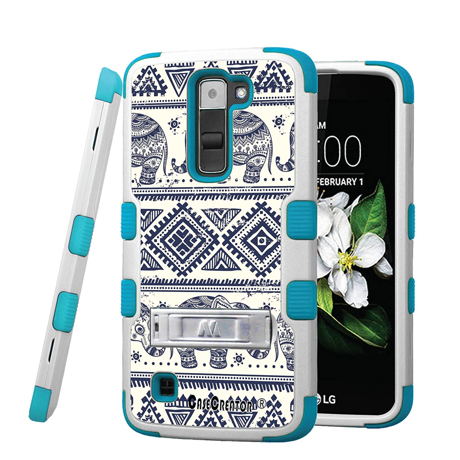 low cost 63794 6515a LG K7 Case, CASECREATOR[TM] For LG K7 / LG Tribute 5 (Sprint, MetroPCS,  Boost Mobile)~TUFF Hybrid Stand Rubber Hard Case Teal Blue White-Cluttered  ...