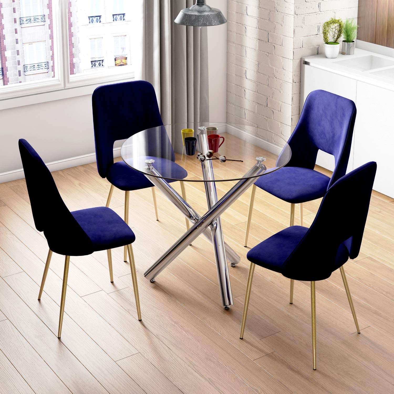 Beliwin Glass Dining Table Modern Round Style Table Furniture for Kitchen Dining Room Black Round