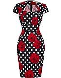 GRACE KARIN Women Cape Sleeve 50s Vintage Pencil Dress CL007597