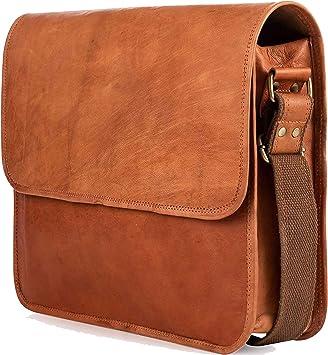 Mens leather messenger laptop shoulder brown vintage satchel office bag handmade