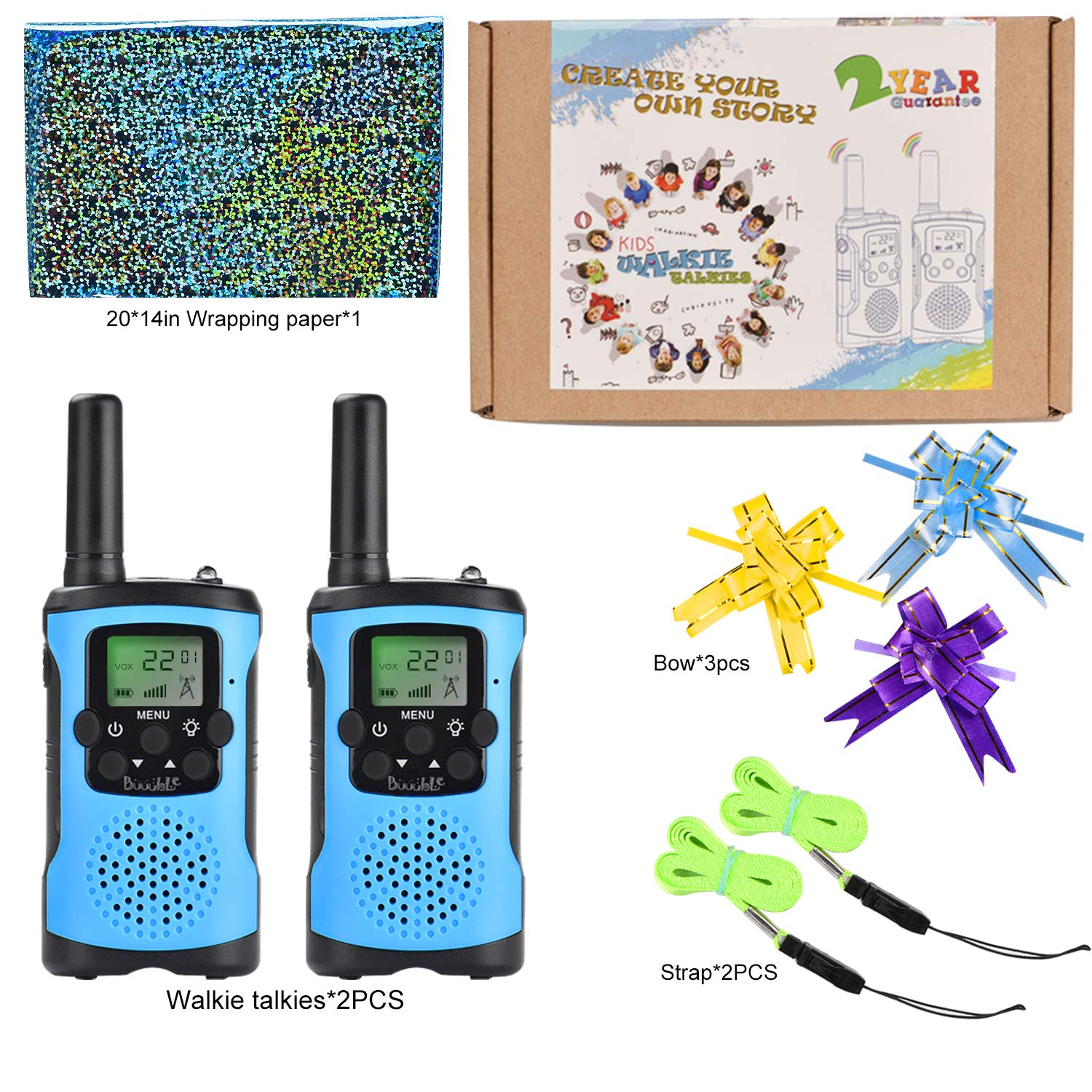 Walkie Talkies for Kids 22 Channel 3 Mile Long Range Many People Use It to Prevent Children's Myopia and Away from Electronic Games Best Birthday Gifts for 4-6 Year Old Boys Girls More Fun Game (Blue) by Buuuble (Image #7)
