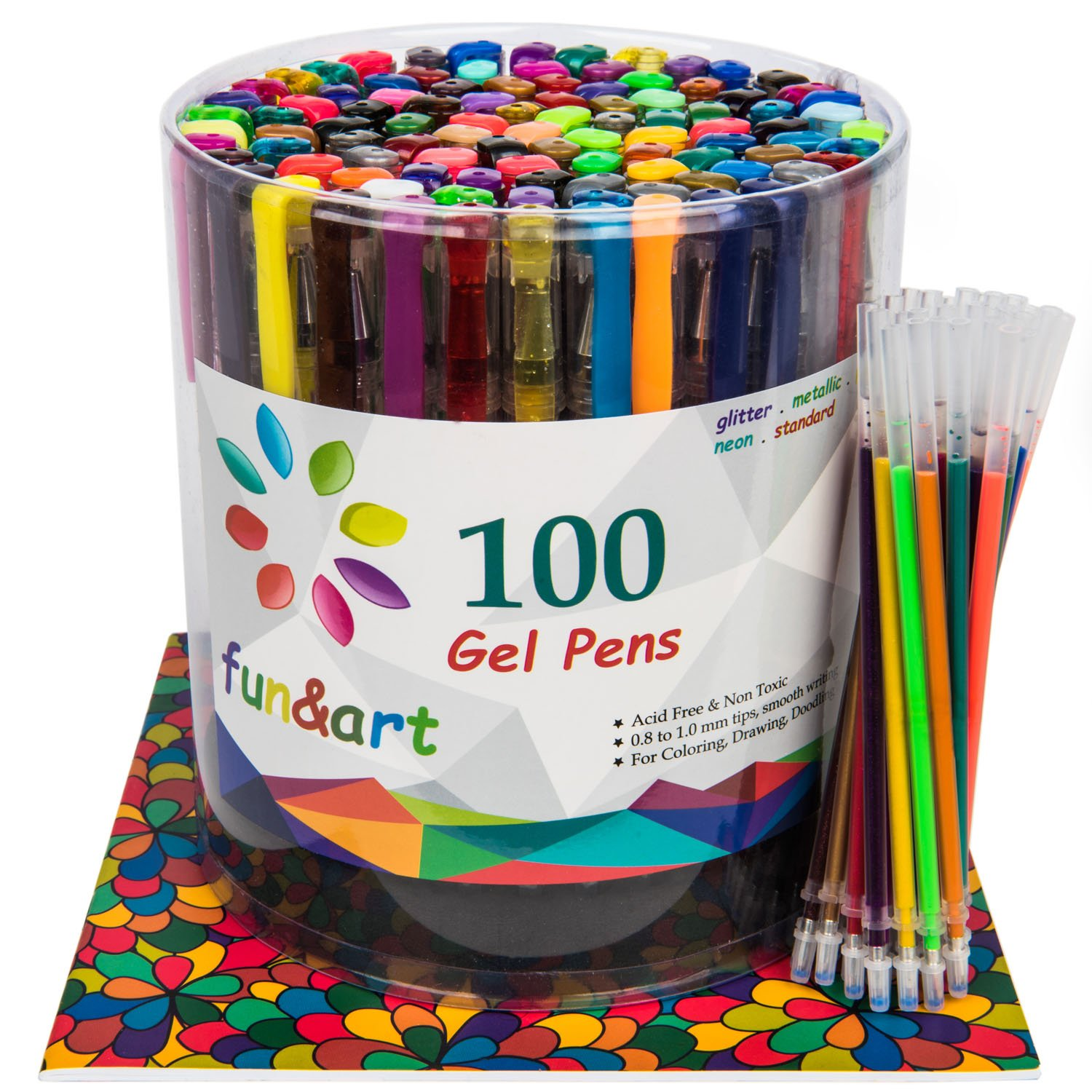 fun&art 130 Gel Pen Set Plus Free Bonus Adult Coloring Book, 100 Glitter & Gel Pens Plus 30 Extra Ink Refills with Case and Base Stand, Non Toxic Safe For Kids.