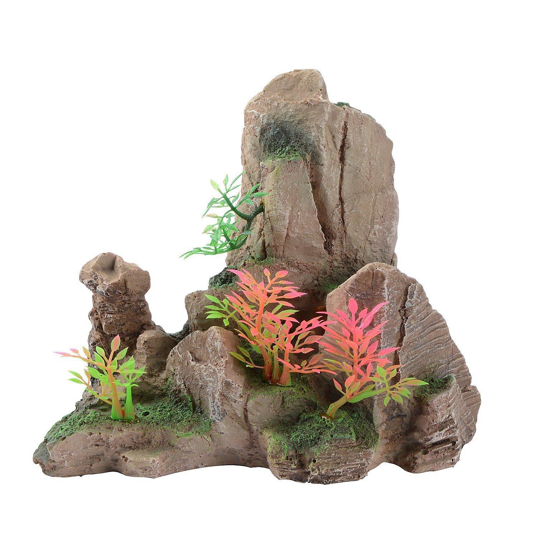 Saim Aquarium Mountain View Stone Ornament Tree Rock Cave Fish Tank Decoration by Saim