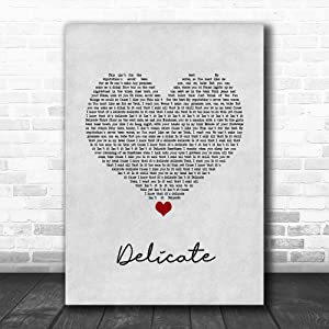 #Taylor #Swift #Delicate Grey Heart Song Lyric Poster Wall Art Home Decor Gifts for Lovers Painting