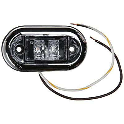 """Grote 45243-5 Clear, Amber LED 2 1/2"""" Oval LED Clearance Marker Light with Chrome Bezel: Automotive"""