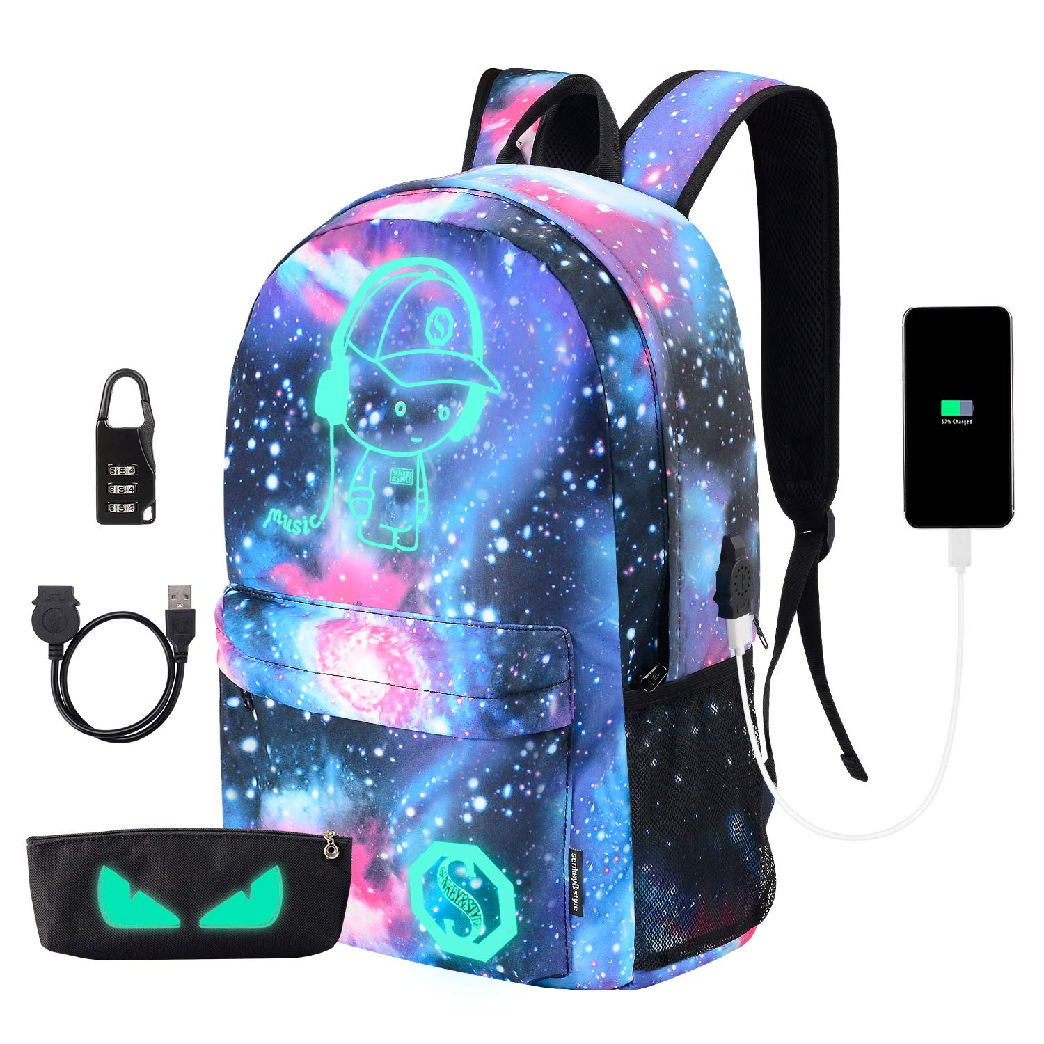 Anime Luminous Backpack Lightweight Laptop Backpack Fashion School Bags Daypack with USB Charging Por for Teens Girls Boys
