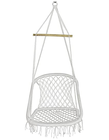NOVICZ Hanging Swing Chair for Balcony Jhula for Kids Adults Home Indoor Outdoor Garden LVLY-M-Whitecolor 1 Year Warranty