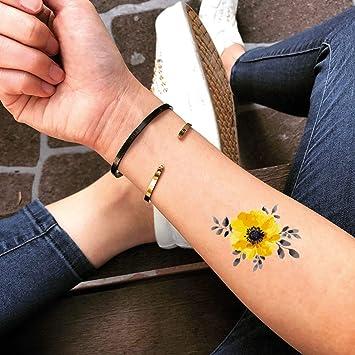 Tatuaje Temporal de Flor amarilla (2 Piezas) - www.ohmytat.com ...
