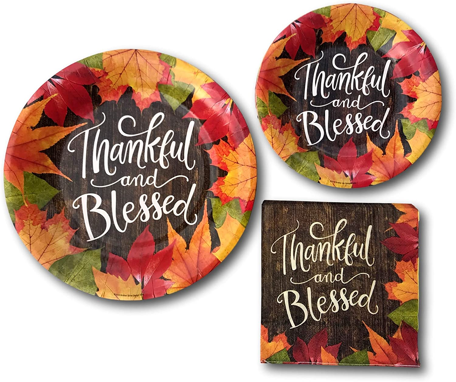 Thanksgiving Thankful And Blessed Fall Party Paper Plates And Napkins Bundle Party Pack Supplies Set Includes Thanksgiving Disposable Dinnerware Plates Dessert Plates And Napkins Kitchen Dining Amazon Com
