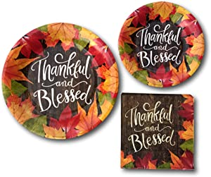 Thanksgiving Thankful And Blessed Fall Party Paper Plates and Napkins Bundle - Party Pack Supplies Set Includes Thanksgiving Disposable Dinnerware Plates - Dessert Plates and Napkins