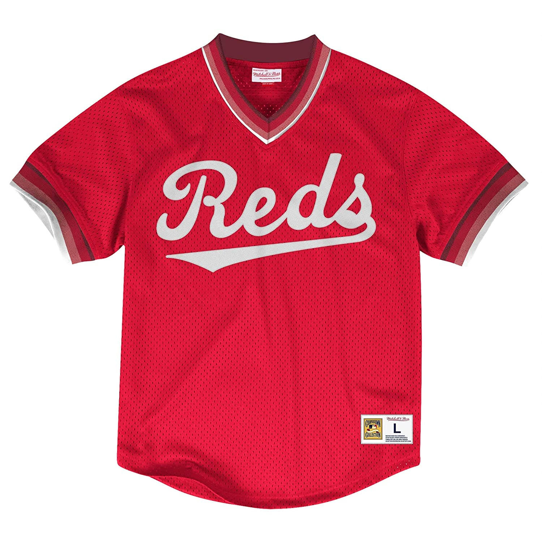 Mitchell /& Ness Cincinnati Reds Mens Mesh V-Neck Jersey