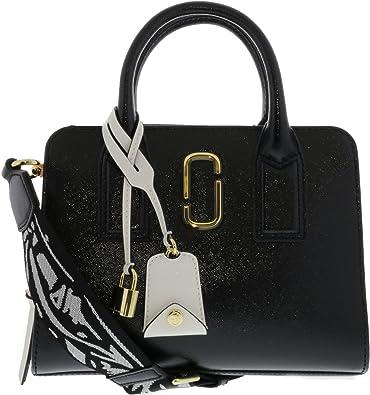 Marc Jacobs Little Big Shot Women s Logo Strap Bag BLACK BABY PINK ... 45c4fccb2fe8