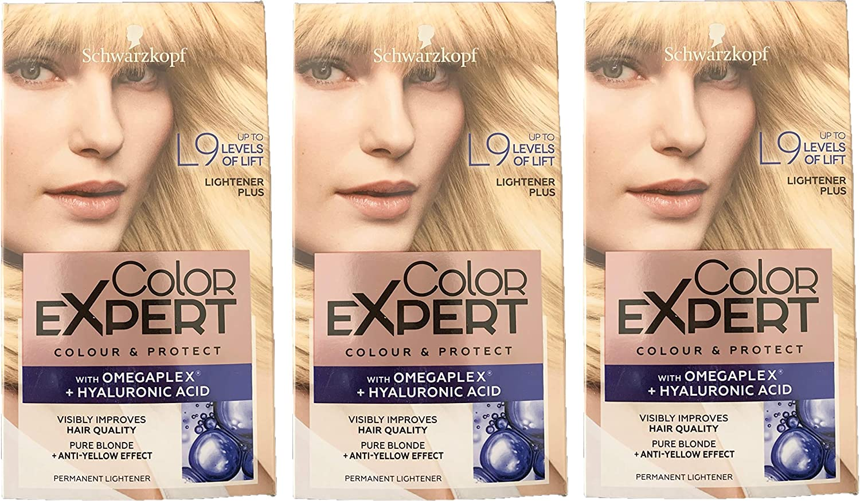 Schwarzkopf Color Expert Omegaplex tinte para cabello, L9 Lightener++ – Paquete de 3