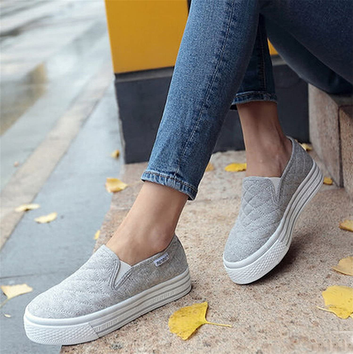 Henraly Women Loafers Casual Flats Shoes Round Toe Fashion Platform Loafer Shoes Autumn Comfort White Women Shoes 7D31