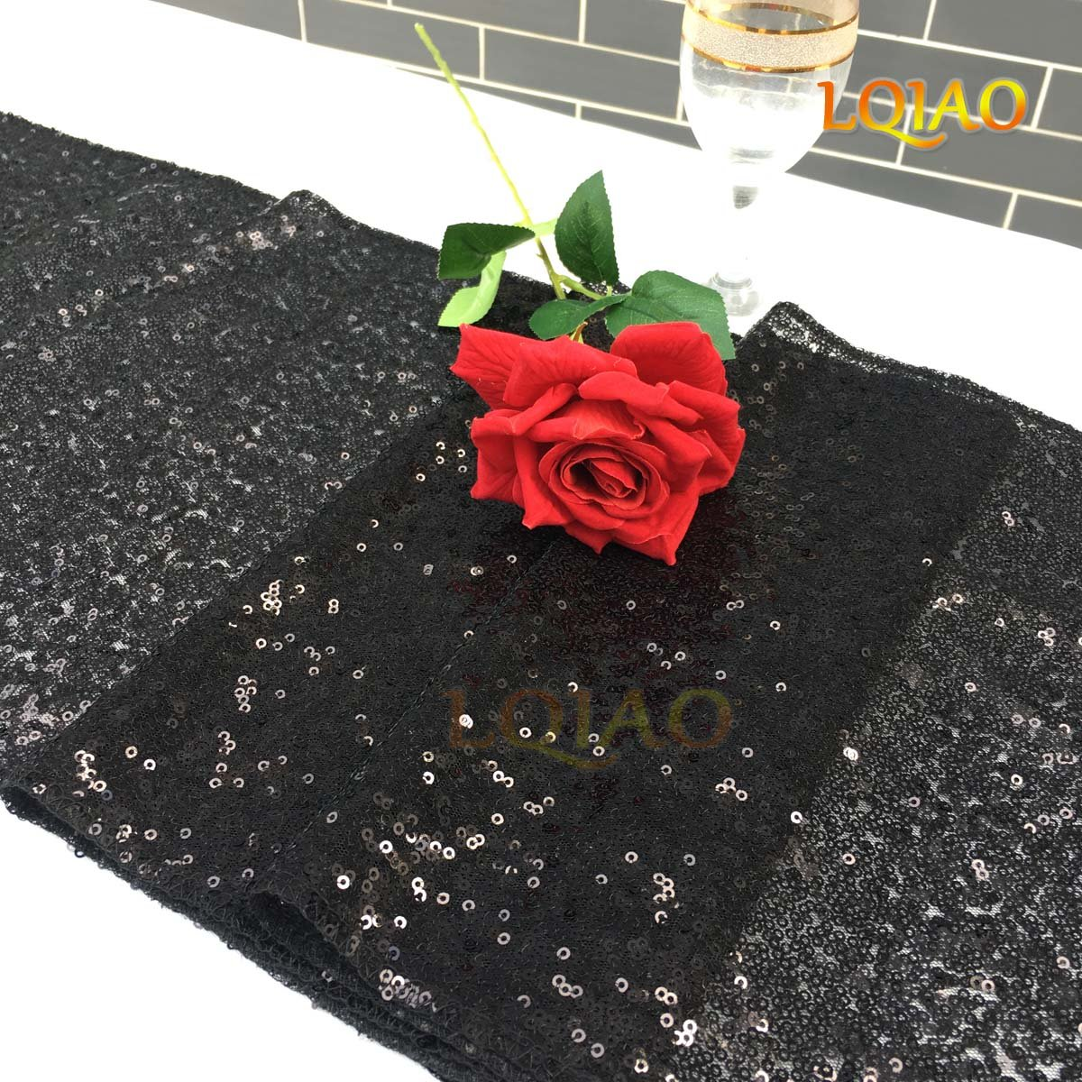 LQIAO Christmas Table Runner Sequin 12x108-in, Black, Shiny Fabric Birthday/Wedding/Party Decoration(wholesale Possible), Pack of 20 PCS