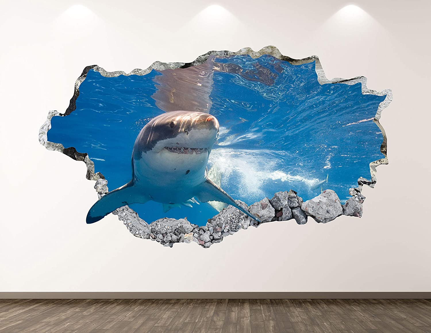 "West Mountain Shark Wall Decal Art Decor 3D Smashed Kids Animal Sticker Mural Boys Custom Gift BL26 (42"" W x 24"" H)"