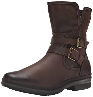 UGG Women's Simmens Leather Rain Boot, Stout Leather - 5 B(M) US