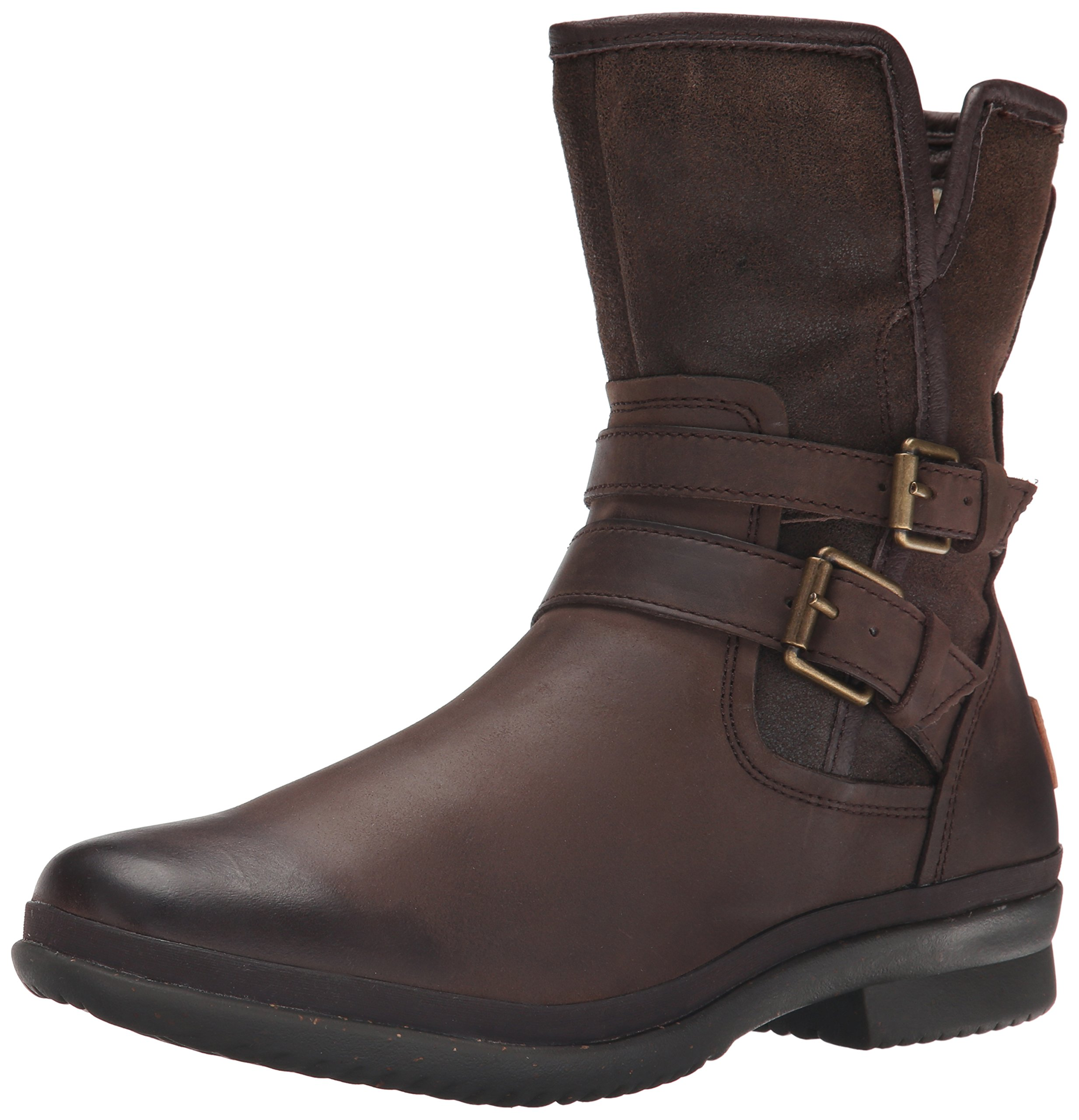 UGG Women's Simmens Leather Rain Boot, Stout Leather - 12 B(M) US