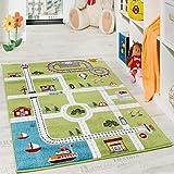 b8a1362728b0b8 Paco Home Kinderteppich Spielteppich City Hafen Straßenteppich Stadt Straße  Grau Grün