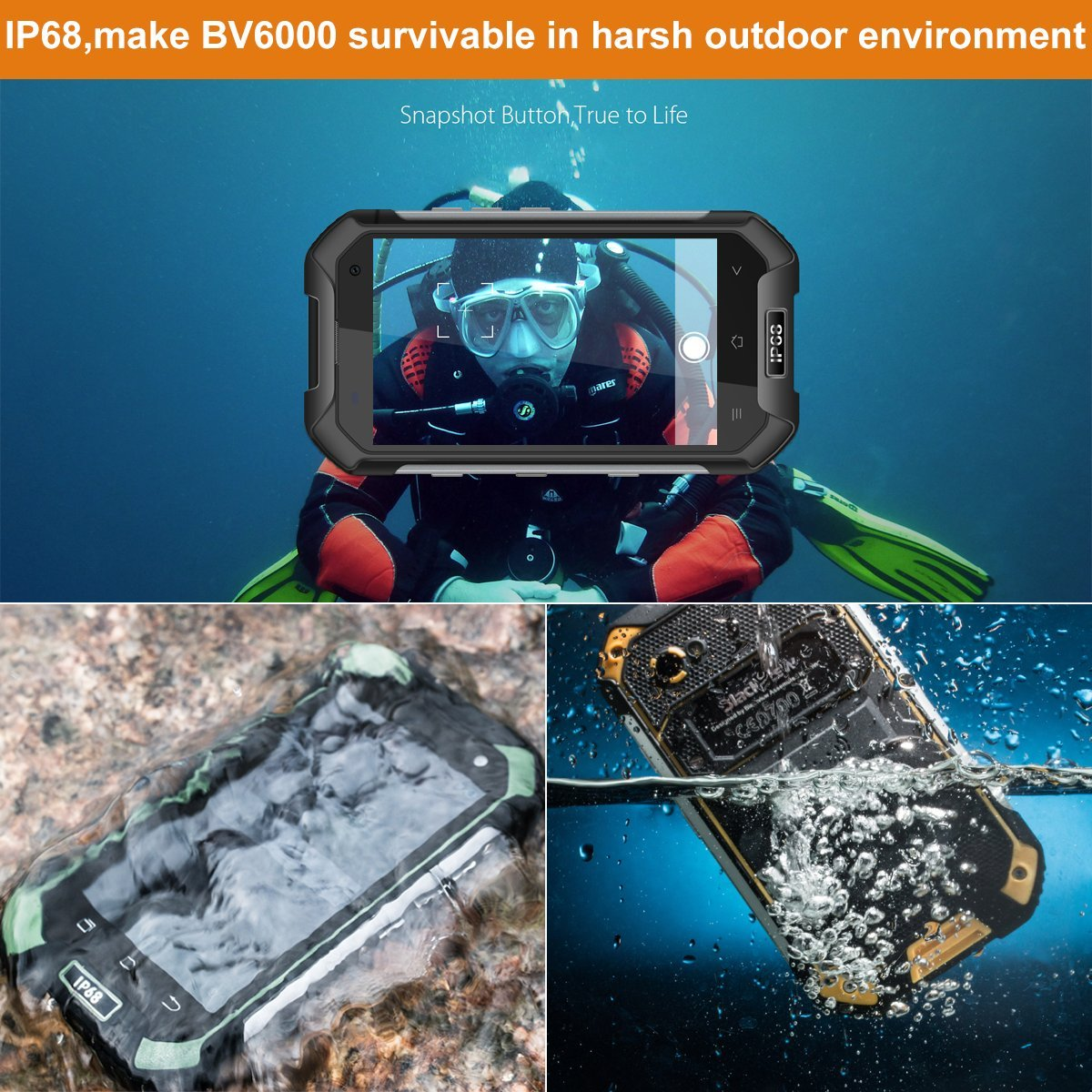 Waterproof Mobile Phones Blackview Bv6000 47 Inch Ip68 Tri Proof Vo 2gb Smart Unlocked 2g 3g 4g Android 70 Octa Core 3gb Ram 32gb Rom 45000mah Hd