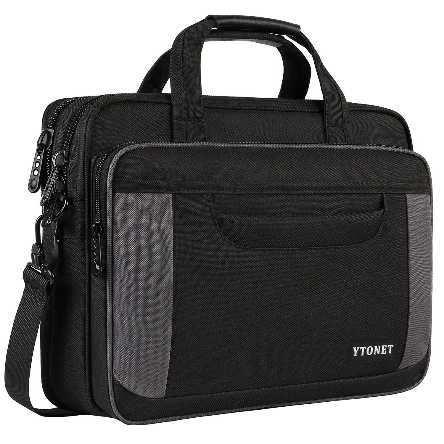 Ytonet Laptop Briefcase,15.6 Inch Laptop Bag,Business Office Bag for Men Women,Stylish Nylon Multi-Functional Shoulder Messenger Bag for Notebook Computer Tablet MacBook Acer HP Dell Lenovo,Black Grey Cafeleo A-001