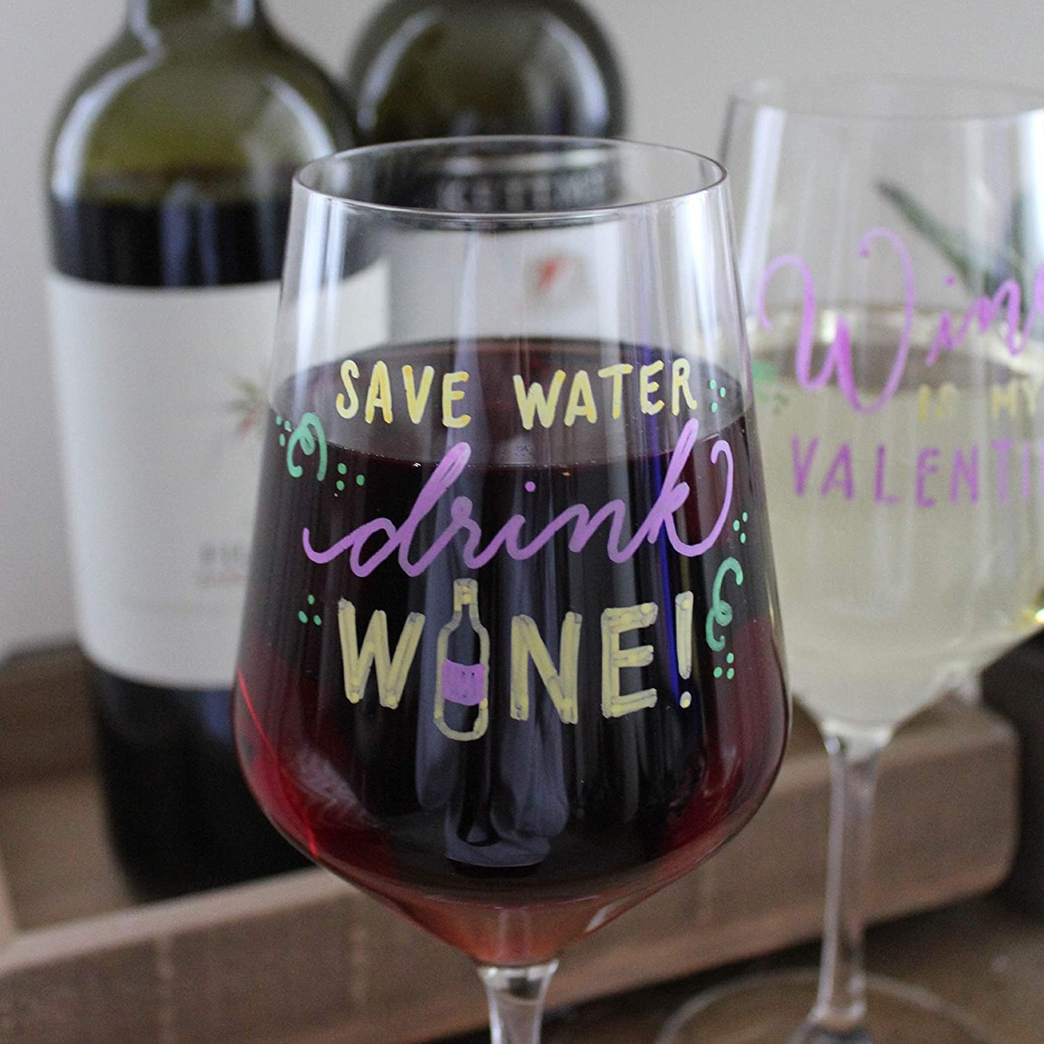 VersaChalk Wine Glass Markers by, 7 Erasable and Washable Pens for