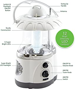 Northpoint 12-LED Lantern with 4-LED Flashlight and AM/FM Radio