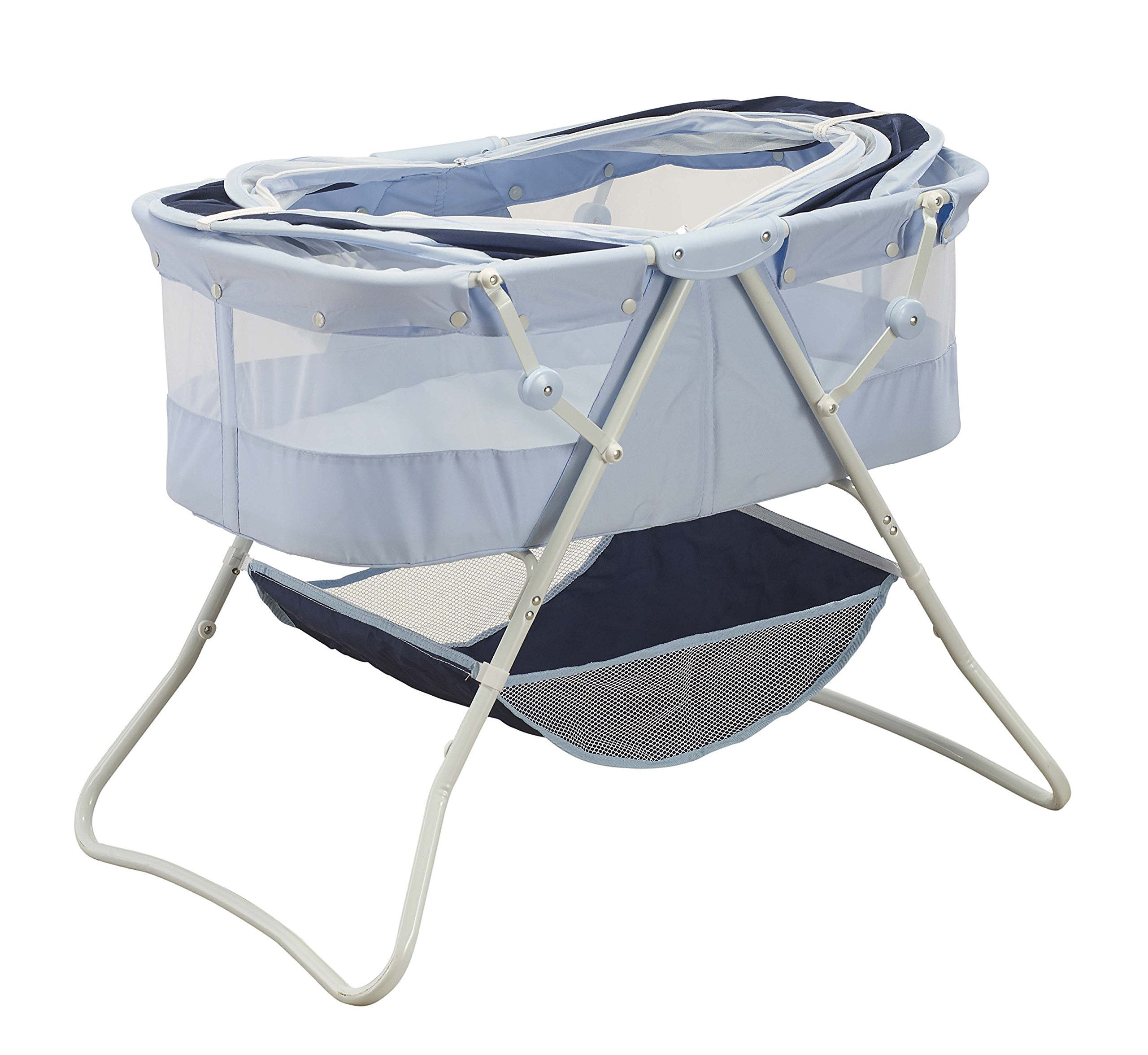 Big Oshi Emma Newborn Baby Bassinet - Portable Co Sleeper Bassinet for Boys or Girls - Perfect for Bedside, Indoors, or Outdoors - Lightweight for Travel - Canopy Netting - Wood Bed Base, Navy