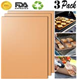 Aoocan Copper Grill Mat Set of 3-100% Non-stick BBQ Grill & Baking Mats - FDA-Approved, PFOA Free, Reusable and Easy to Clean - Works on Gas, Charcoal, Electric Grill and More - 15.75 x 13 Inch