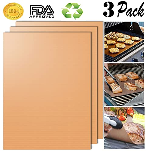 Aoocan Copper Grill Mat Set of 3 - Grill Mats Non Stick