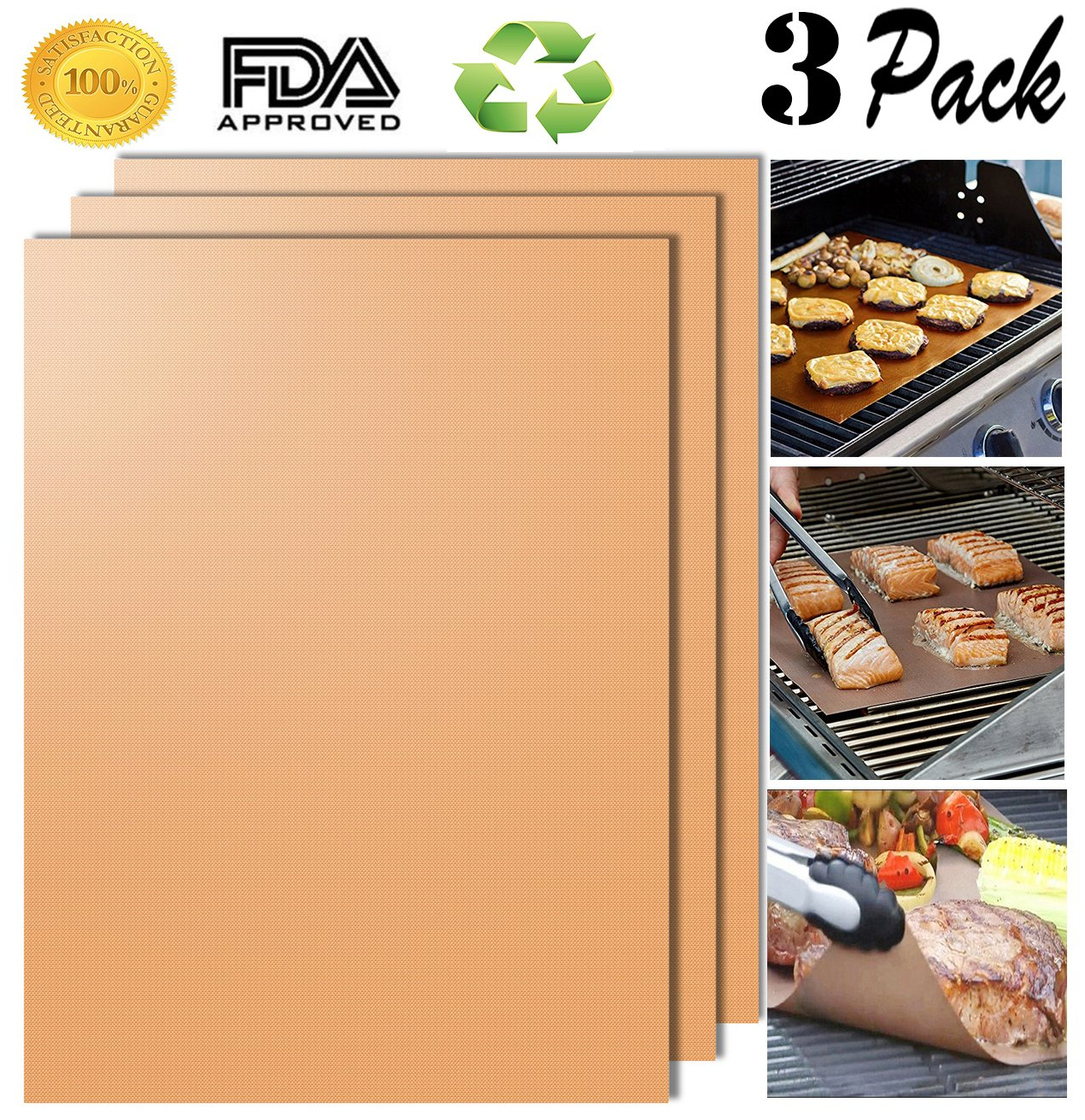 Aoocan Copper Grill Mat Set of 3 - Grill Mats Non Stick ,BBQ Grill & Baking Mats - FDA-Approved,Reusable and Easy to Clean - Works on Gas, Charcoal, Electric Grill