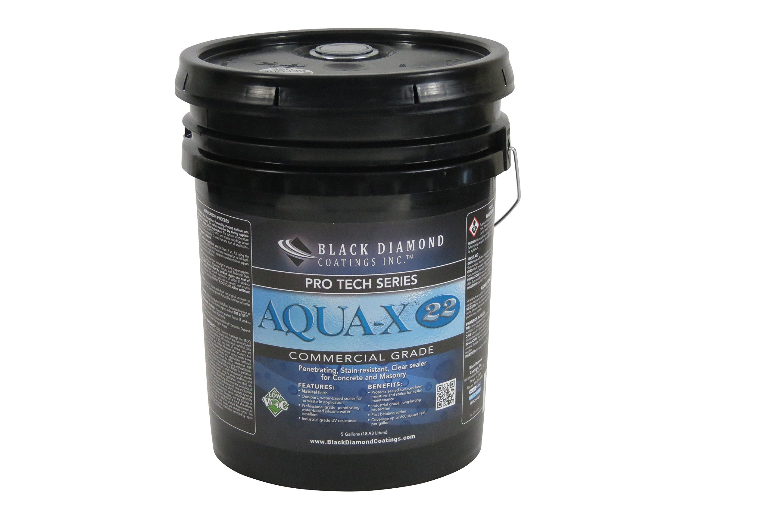 AQUA-X 22 Concrete and Masonry Sealer by Black Diamond Coatings. Penetrating and Stain Resistant Concrete Sealer. (5 Gallon)