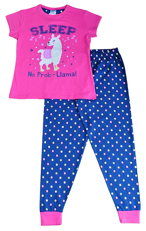 Girls Sleep No Prob-Llama Girls Long Pyjamas Pink PJ 9-16 Years