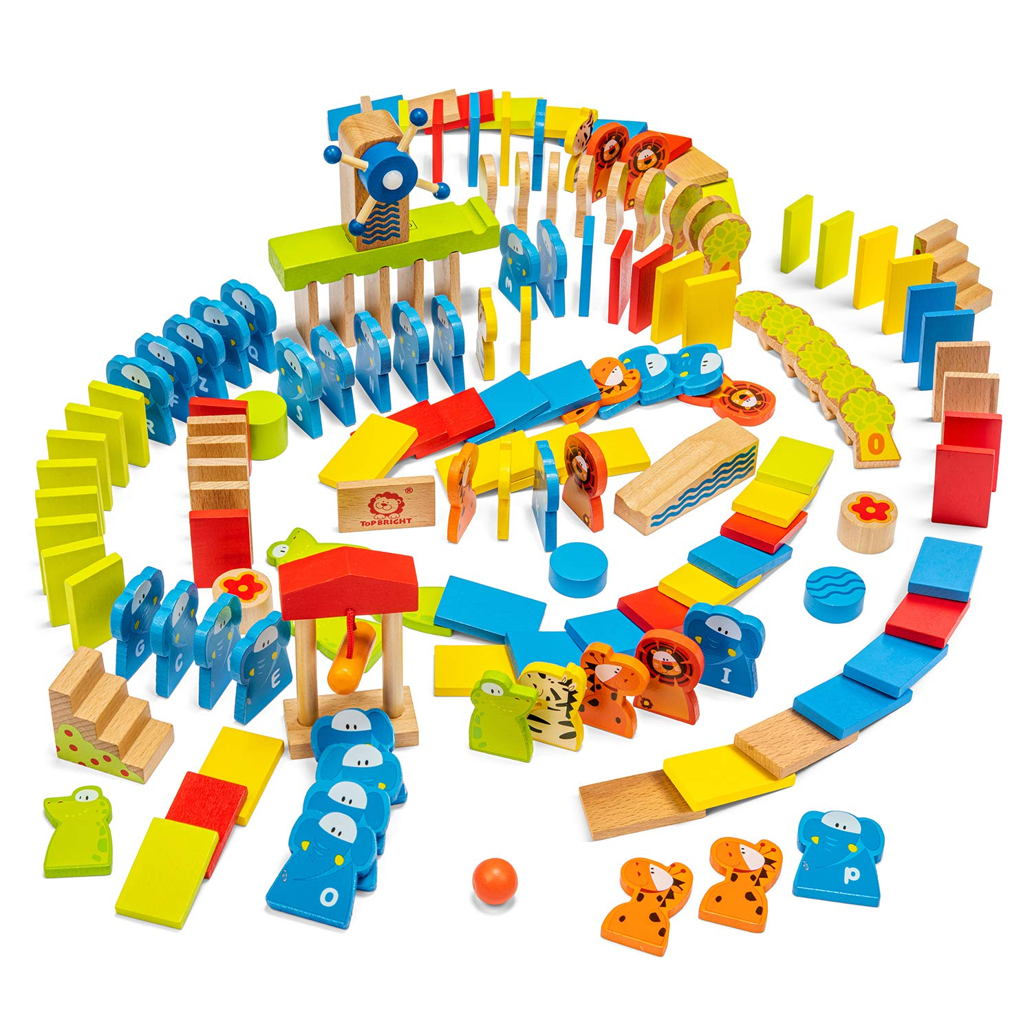 TOP BRIGHT Dominoes for Kids, Gifts for Toddlers Girl Boy Age 3, Learning Toy with 150 Wooden Building Blocks and Storage Box