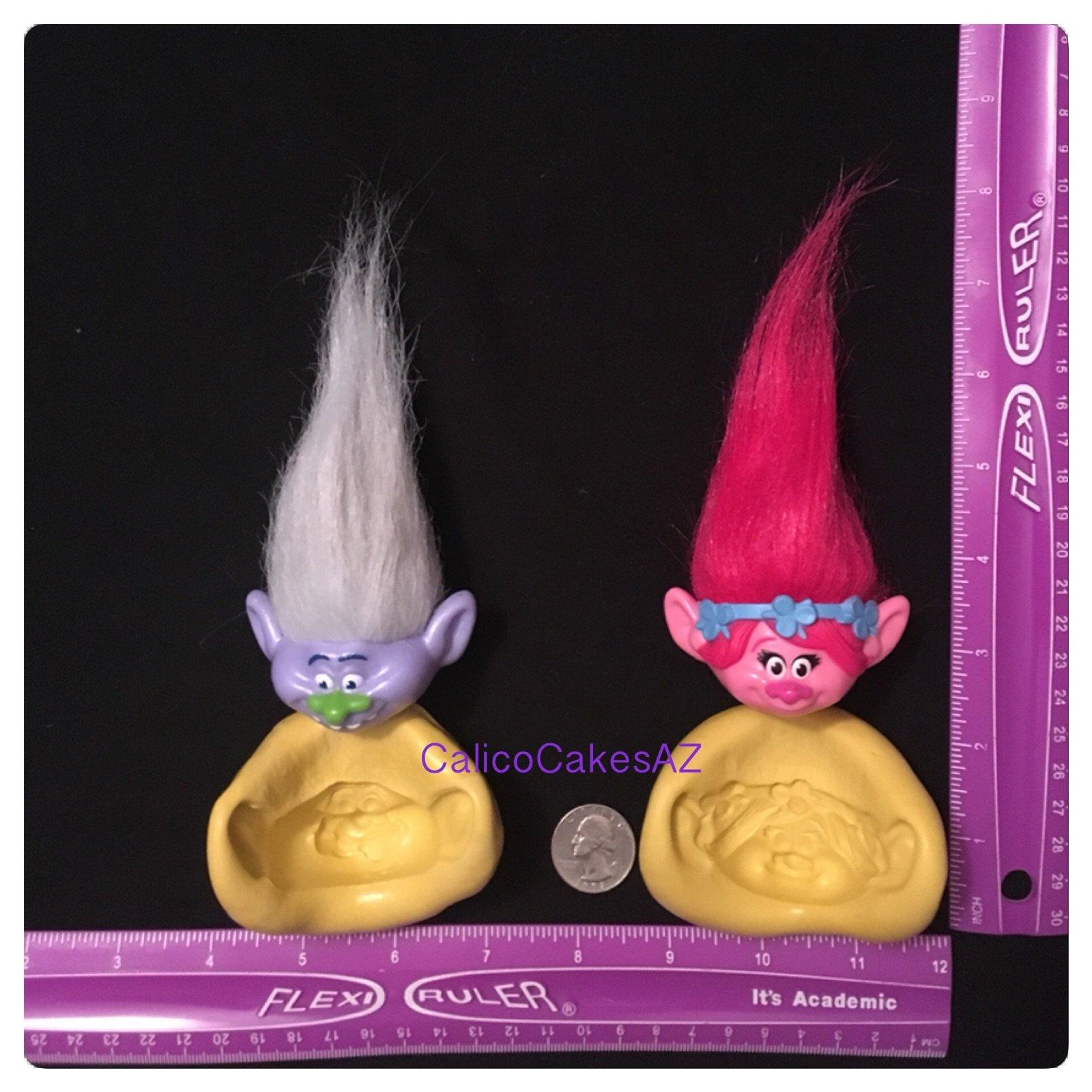 Trolls Fondant Mold Set Guy Diamond and Poppy by CalicoCakesAZMolds (Image #1)