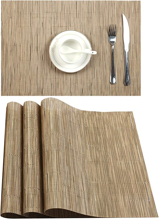 Placemat Beige Sets of 4 Stain Resistant Washable PVC Table Mats Non-Slip Washable Coffee Mats,Crossweave Woven Vinyl Heat Resistant Kitchen Tablemats for Dining Table