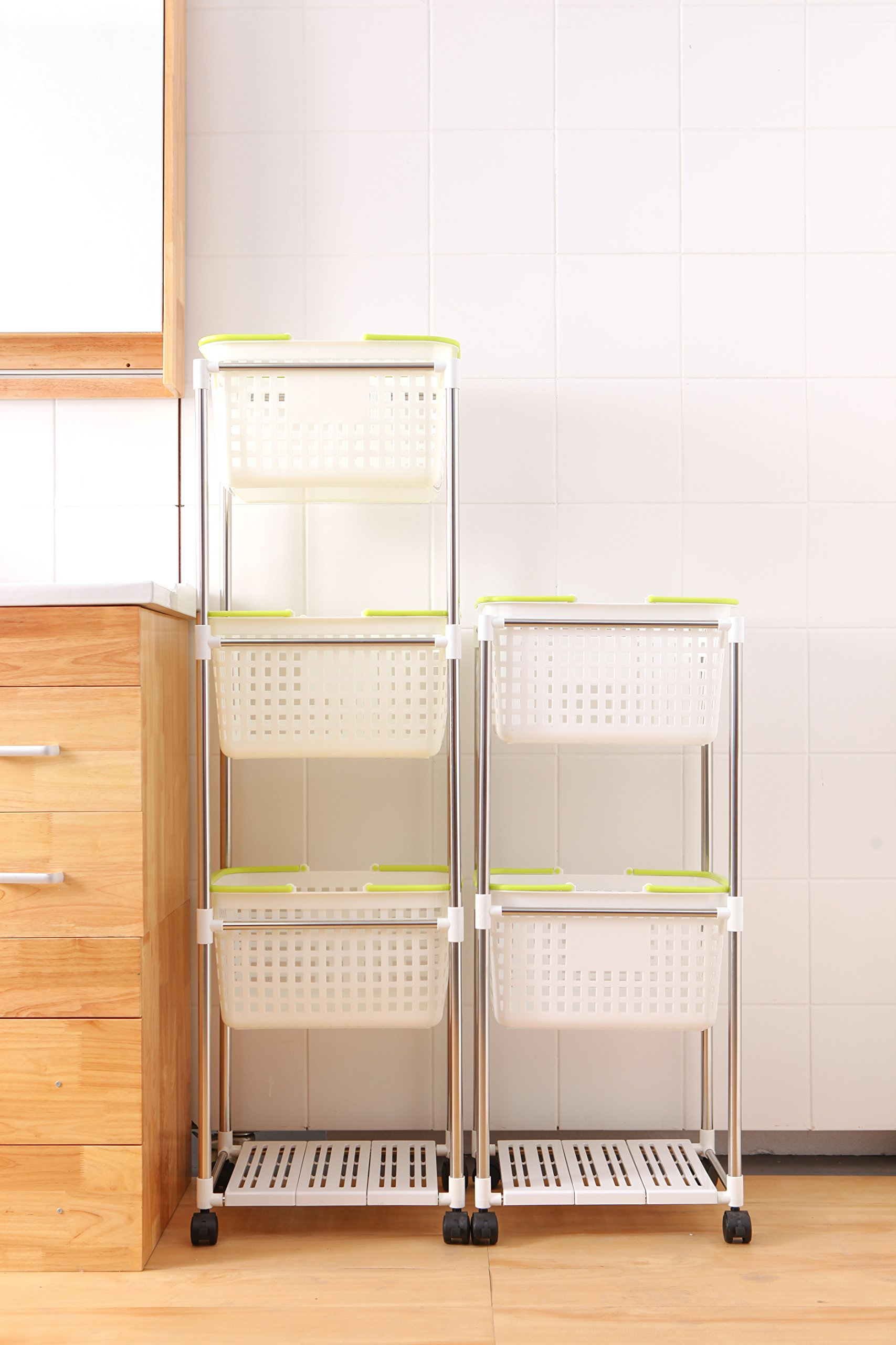 Newerlives Stainless Steel 4 Section Storage Shelf With Plastic Baskets,The System Rack(White) (3 Plastic Baskets)