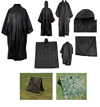 Waterproof Rip Stop Black Military G.I. Style Poncho Tent Shelter  sc 1 st  Amazon.com & Amazon.com : Waterproof Rip Stop Black Military G.I. Style Poncho ...