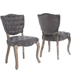 Christopher Knight Home 230347 Violetta French Design Dining Chair (Set of 2), Grey