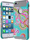 AnnBay iPhone 6/6s Plus Case, High Impact Hard Hybrid Dual Layer Heavy Duty Case - Armor Cover with Totem Flower Pattern - Gray