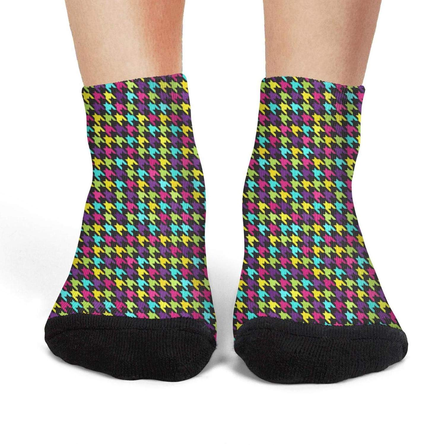Mens athletic low cut Ankle sock rainbow colorful checkerboard party Non-Slip Lightweight Short Sock