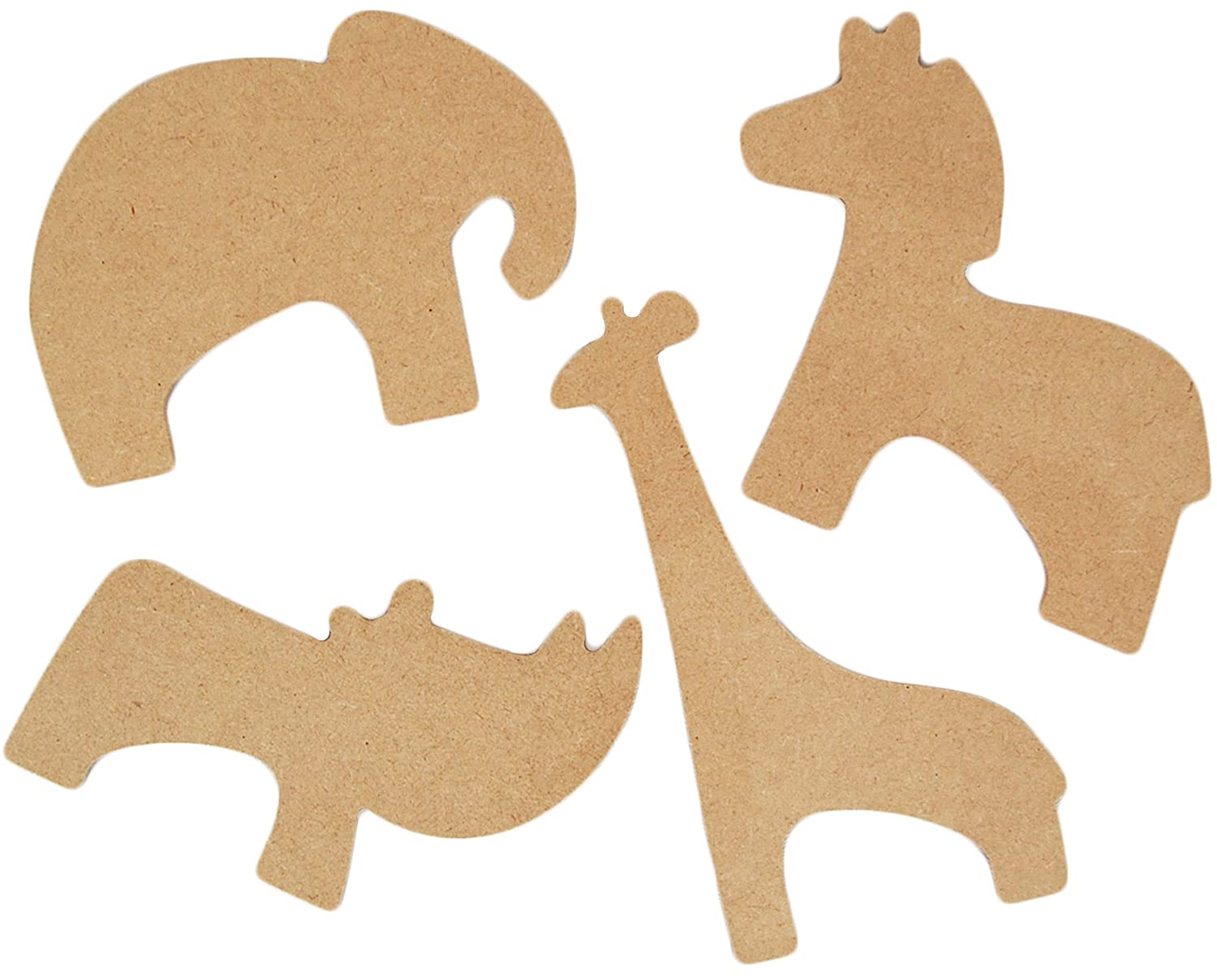 Country Love Crafts 4 Zoo Themed Wooden Craft Blanks, Light Brown CLW0019