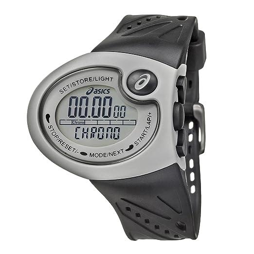 Asics QA4349001 - Reloj digital de caballero de cuarzo con correa de goma negra (cuenta vueltas, alarma) - sumergible a 50 metros: Amazon.es: Relojes
