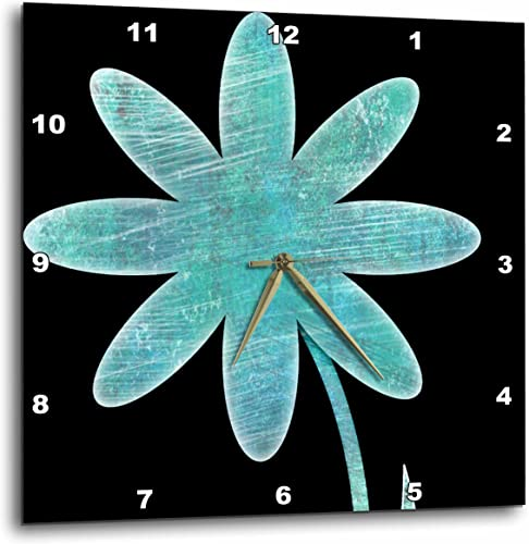 3dRose Turquoise Flower – Fun Floral Art – Wall Clock, 15 by 15-Inch DPP_50657_3