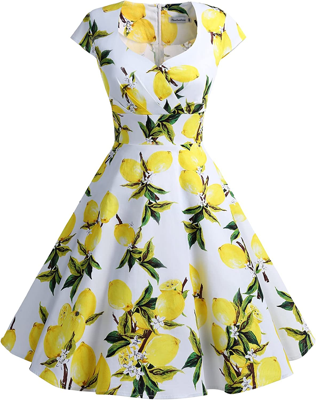 TALLA XS. Bbonlinedress Vestido Corto Mujer Retro Años 50 Vintage Escote En Pico Lemon XS