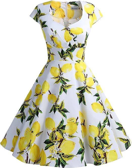 TALLA 3XL. Bbonlinedress Vestido Corto Mujer Retro Años 50 Vintage Escote Lemon 3XL