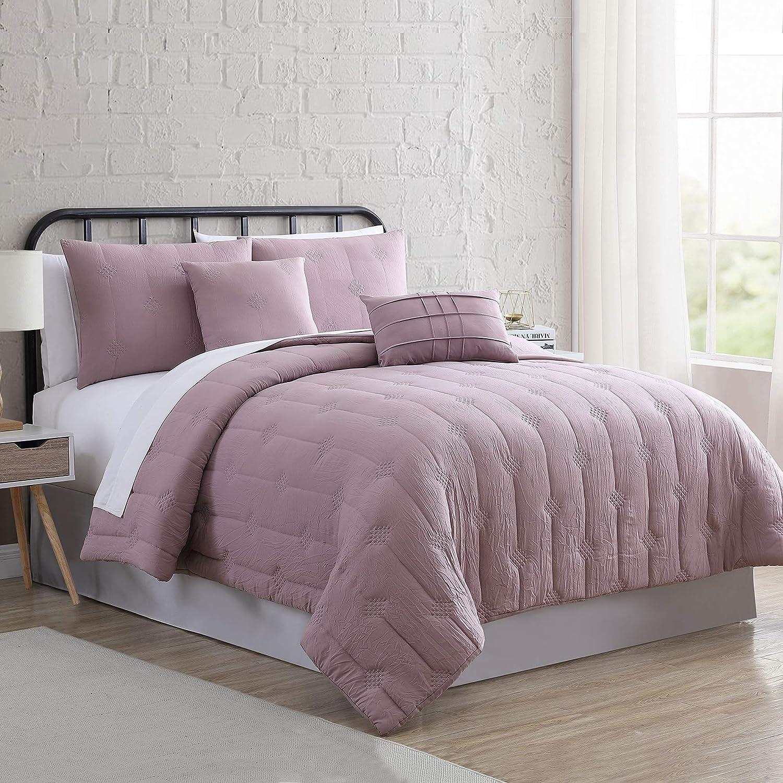 Modern Threads 5-Piece Eve Embroidered Garment Washed Comforter Set, Queen, Light Purple