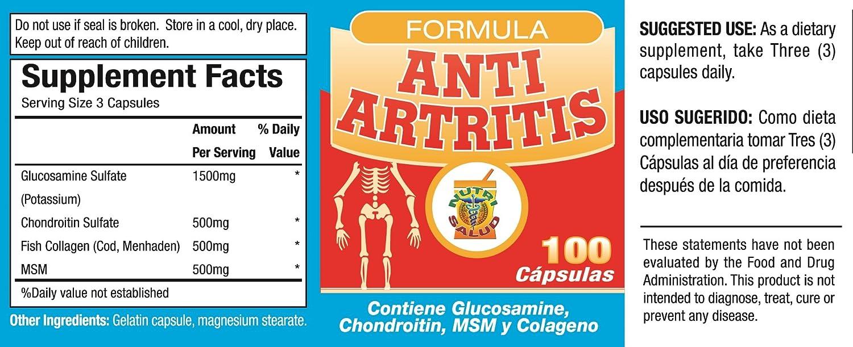 Amazon.com: Anti Artritis tratamiento de crema y capsulas con Glucosamina, Condroitin y Colageno. Alivia dolor en coyunturas, huesos, reumas.